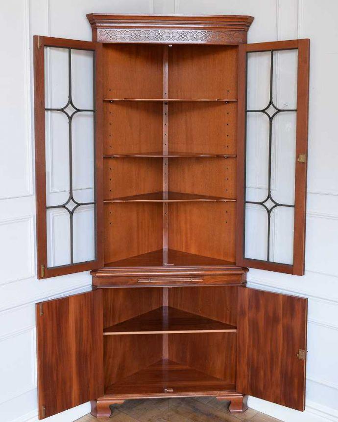k-2186-f アンティークキャビネットの扉内部