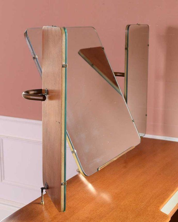 k-2219-f アンティークドレッシングテーブルの三面鏡閉じた状態