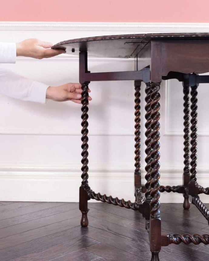 k-2290-f  アンティークゲートレッグテーブルの伸張方法