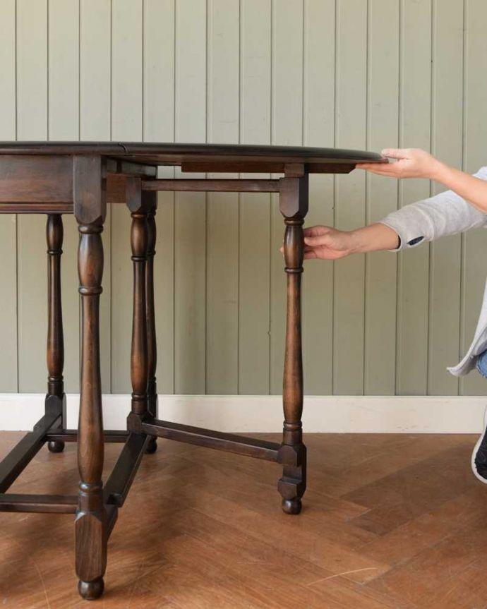 k-2366-f  アンティークゲートレッグテーブルの伸張方法