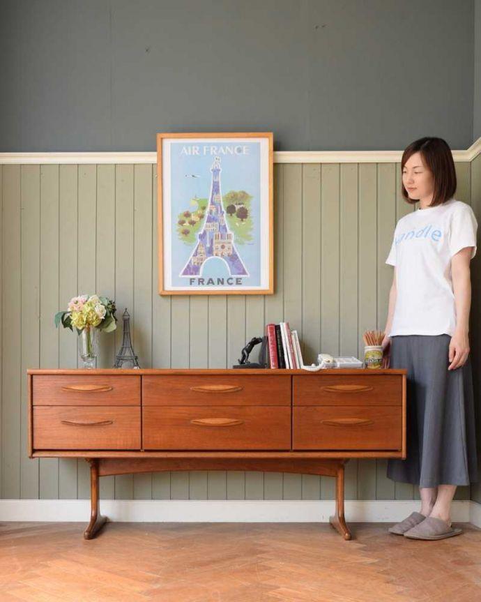 アンティーク家具 Austin Suite社製のヴィンテージ家具、6杯引き出しのサイドボードチェスト。スッキリとしたカッコよさが魅力北欧スタイルのチェストは、やっぱり見た目がカッコいい!シンプルなのでどんなお部屋にも似合います。(k-2554-f)
