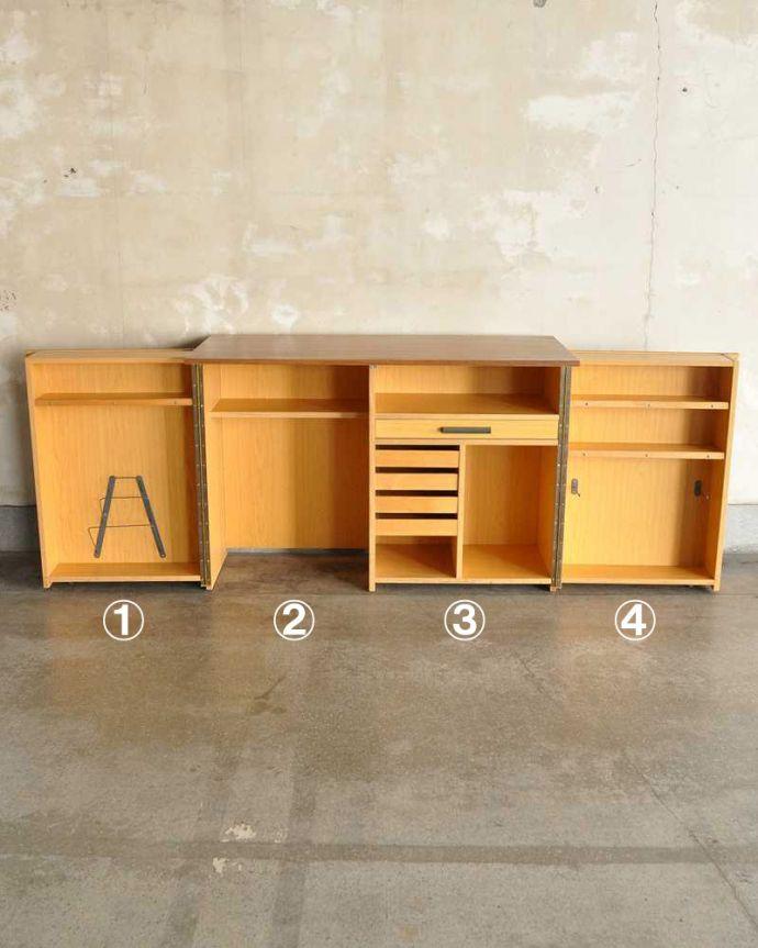 アンティークのキャビネット アンティーク家具 ホームオフィス社のデスクキャビネット、多機能なイギリスのヴィンテージ家具。扉を開けて中を見てみると・・・仕事のファイルから楽譜などの趣味のものまで、ありとあらゆる場所に書類がスッキリ整理整頓できる仕掛けがたっぷり。(k-2583-f)
