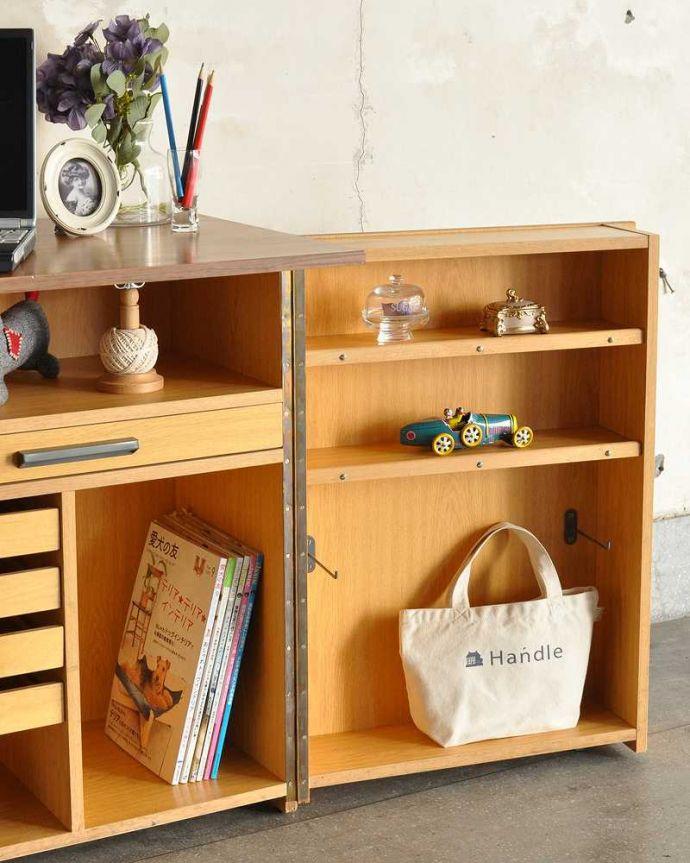 アンティークのキャビネット アンティーク家具 ホームオフィス社のデスクキャビネット、多機能なイギリスのヴィンテージ家具。収納も機能もたっぷり!まさに自宅のオフィスですデスク部分はもちろん、ありとあらゆる場所に細かく使いやすい収納&アイデアがたっぷり詰みこまれた家具。(k-2583-f)