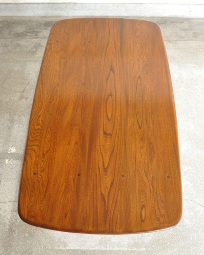 アーコールの家具 アンティーク家具 アーコール社のヴィンテージ家具、お洒落なダイニングテーブル。天板もキレイに修復しましたテーブルの主役はやっぱり天板。(k-2853-f)