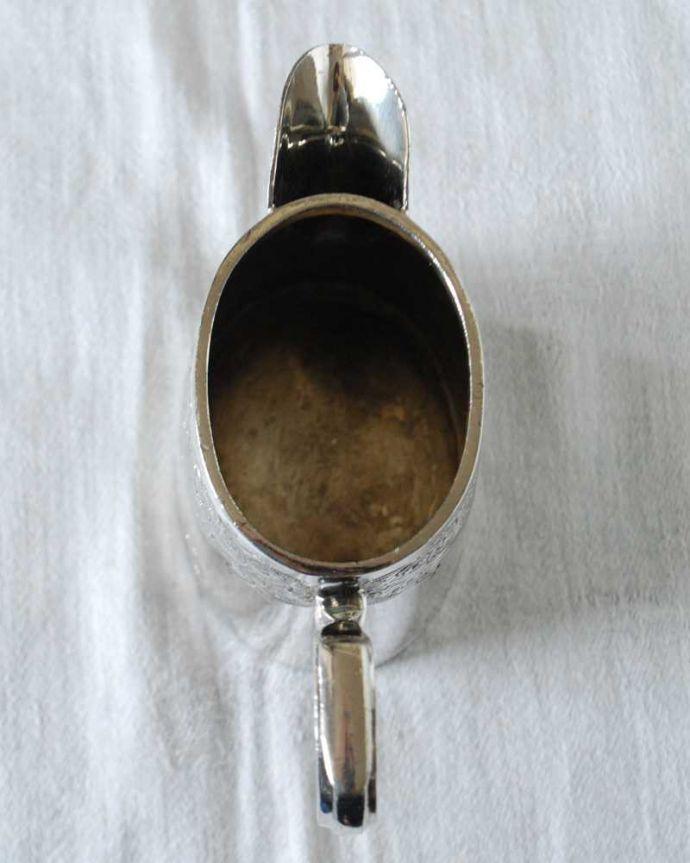 アンティーク シルバー製 アンティーク雑貨 優雅な装飾が付いたアンティークシルバープレートのミルクポット(ミルクピッチャー)。上から見るとこんな感じです。(k-3220-z)