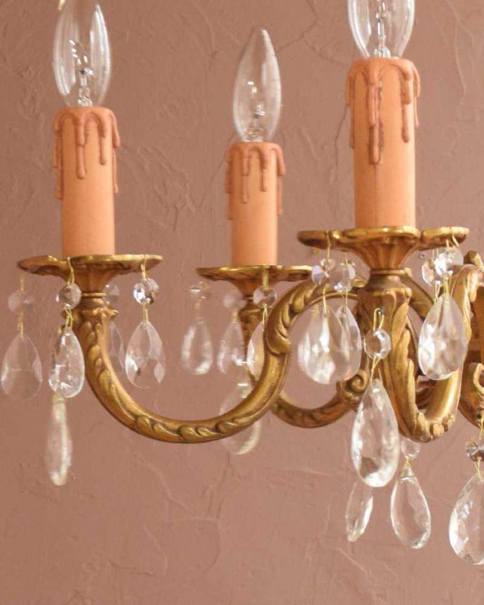 シャンデリア 照明・ライティング ガラスドロップ×真鍮製アンティークシャンデリア(6灯)(E17シャンデリア球付) 。。(k-3380-z)
