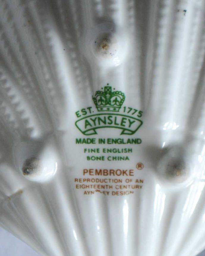 アンティーク雑貨 エインズレイのペンブロック、アンティークプレート(ペントレイ)。裏側には品質の証製造メーカー保証の意味がこもった窯印、ポーセリンマークがあります。(k-3451-z)