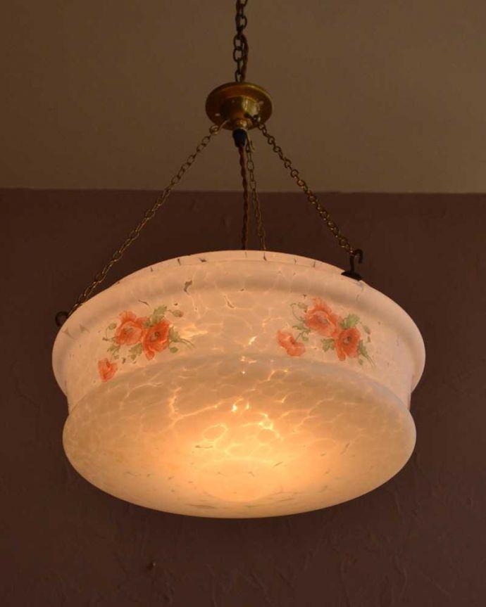 シャンデリア 照明・ライティング お花が浮かび上がるアンティークハンギングボウル(E26球付) 。。(k-3793-z)