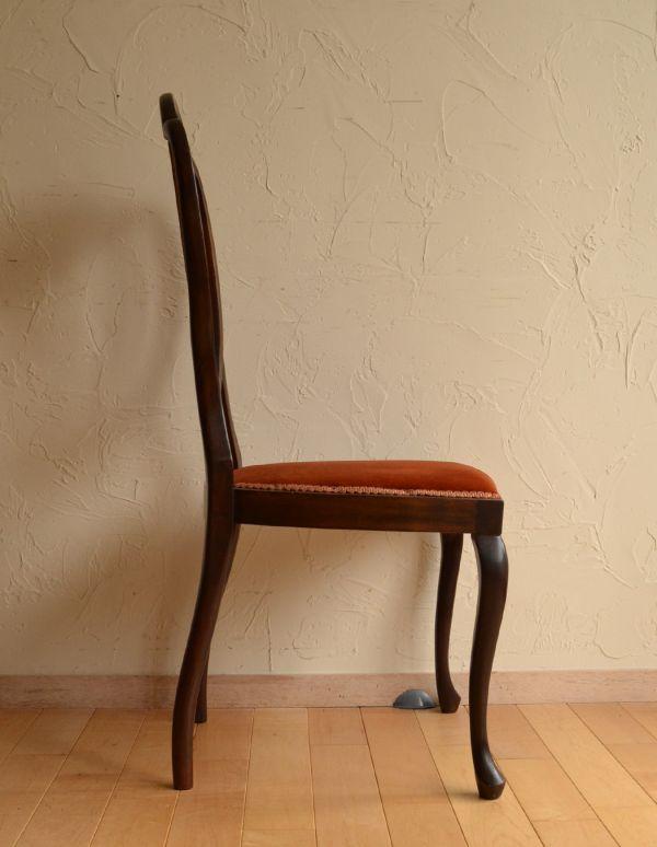 サロンチェア アンティーク チェア マホガニー材のアンティークチェア、美しい背もたれのサイドチェア。横から見ても脚の美しいラインが楽しめます。(k-926-c)