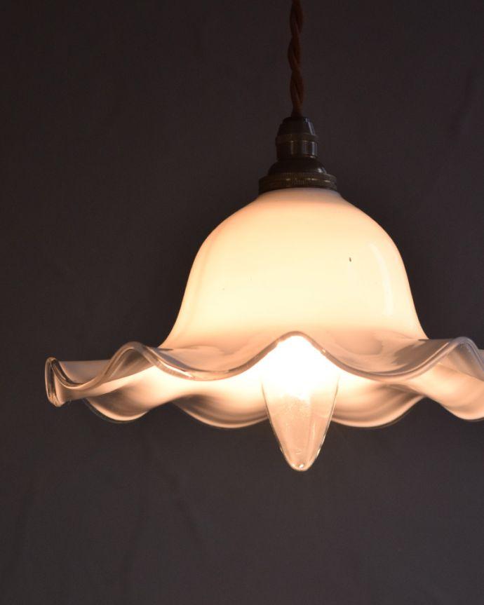 m-1747-z アンティークフレンチペンダントライトの点灯