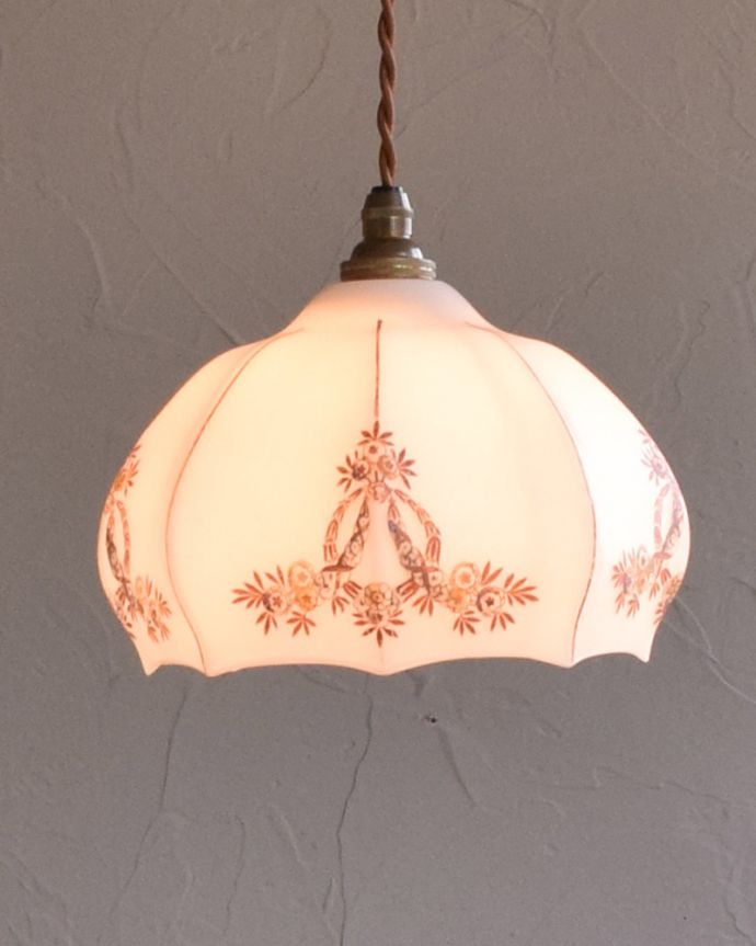 m-1749-z アンティークペンダントランプ(照明)の点灯時