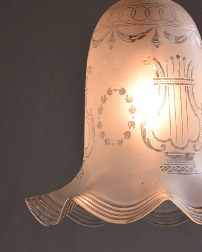 m-1786-z イギリス輸入、アンティークガラスのペンダントライトの点灯