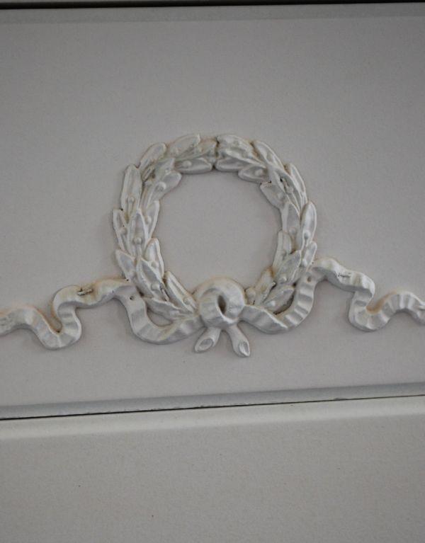 m-446-f アンティークチェスト(ホワイト)の彫り