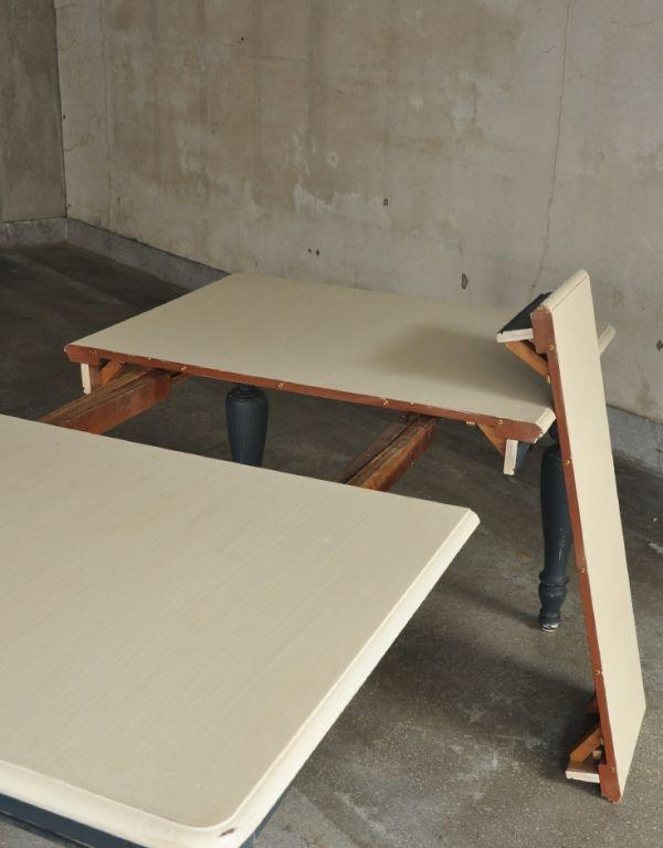 m-491-f アンティークダイニングテーブル(ホワイト×ネイビー)の2