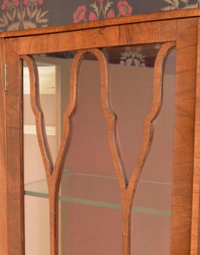 m-555-f アンティークガラスキャビネットのガラス戸