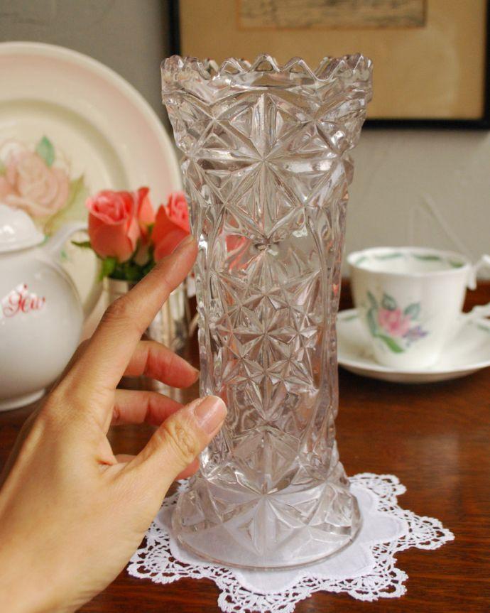 pg-3903 アンティークプレスドグラス(花器)の手入り