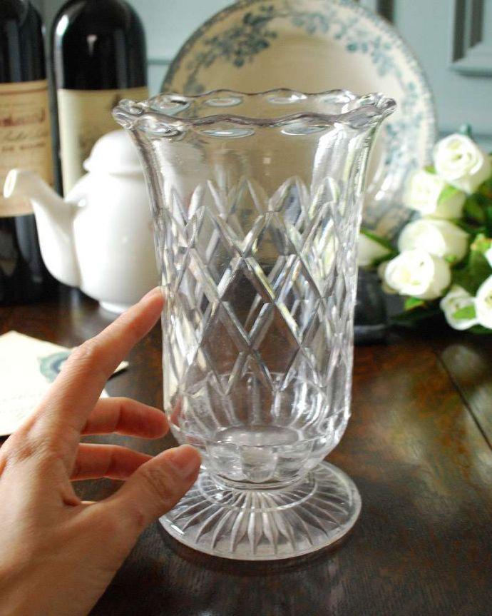 pg-4325 プレスドグラス(花瓶)の手入り