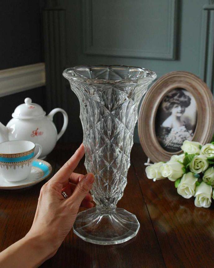 pg-5103 プレスドグラス(花瓶)の手入り