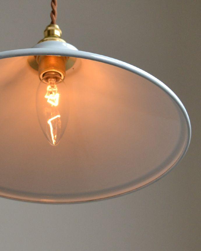 pl-053 琺瑯ペンダントライト(ホワイト)の点灯