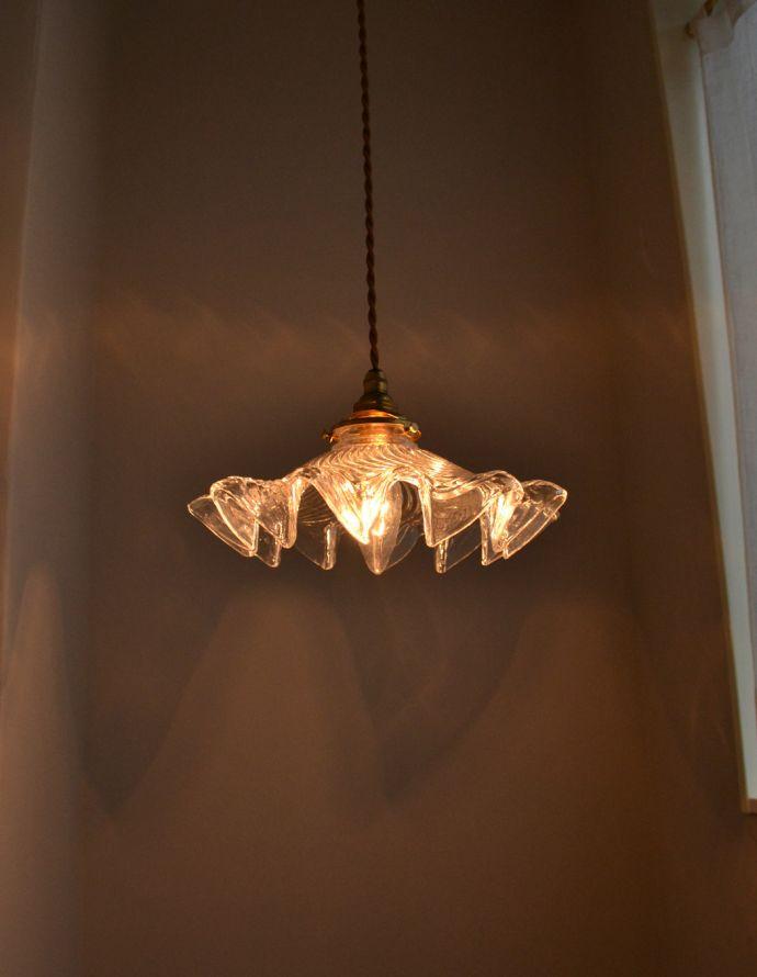 ペンダントライト 照明・ライティング ダイナミックなカッティングが美しい、ペンダントライト(コード・シャンデリア球・ギャラリーA付き)。存在感のある素敵なペンダントランプです。(pl-132)