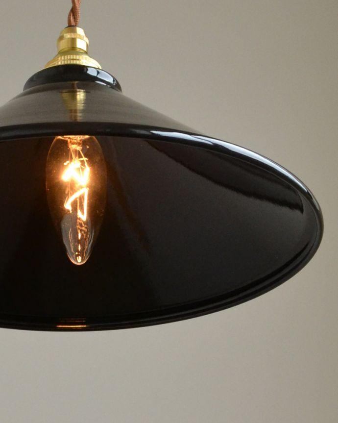 pl-154  琺瑯ペンダントライト(ブラックト)の点灯