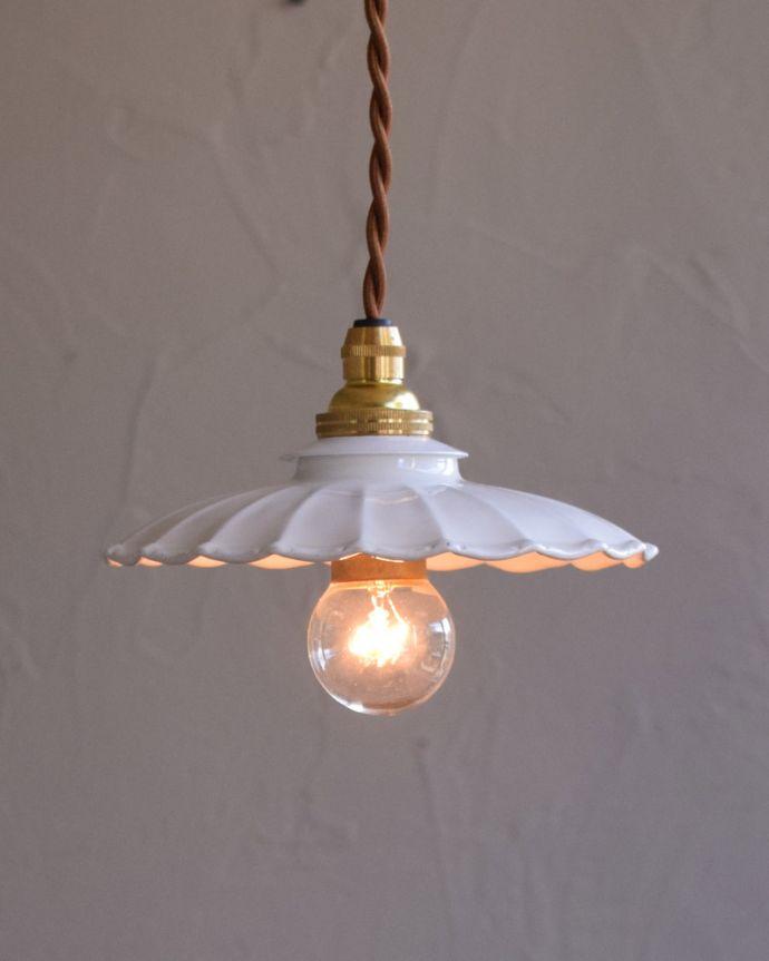pl-171  陶器ペンダントライトの点灯