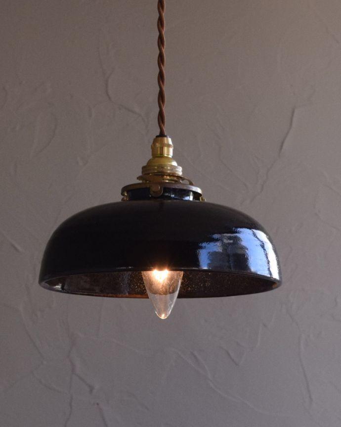 pl-173  陶器ペンダントライト(ブラック)の点灯