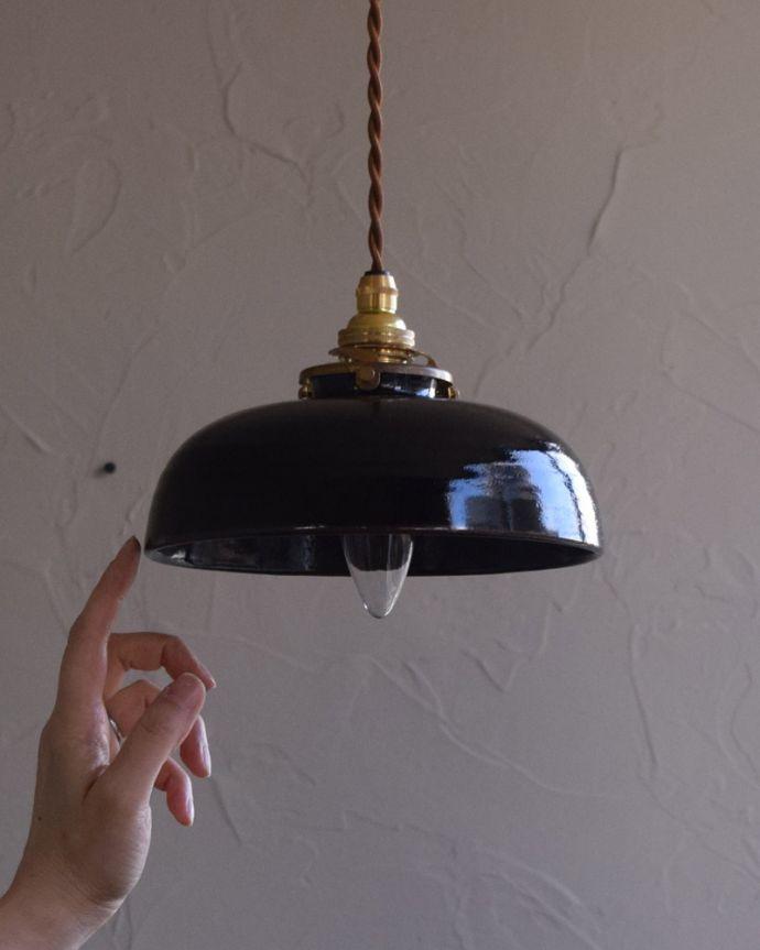 pl-173  陶器ペンダントライト(ブラック)の手入り