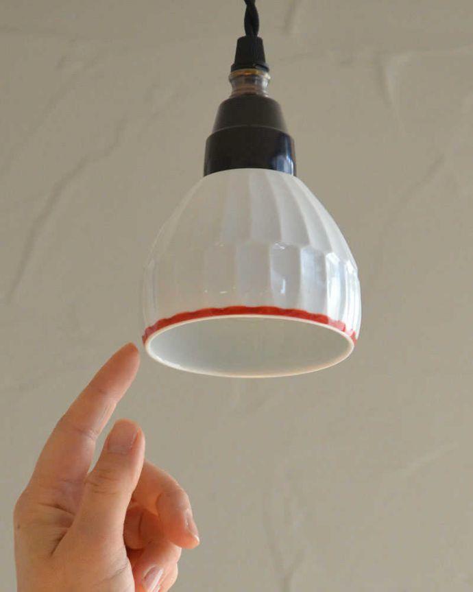 ペンダントライト 照明・ライティング 可愛い磁器製(ライン)シェードのペンダントライト(50cmコード・E26球・ギャラリーなし)。※こちらのシェードのみは販売していません。(pl-182)