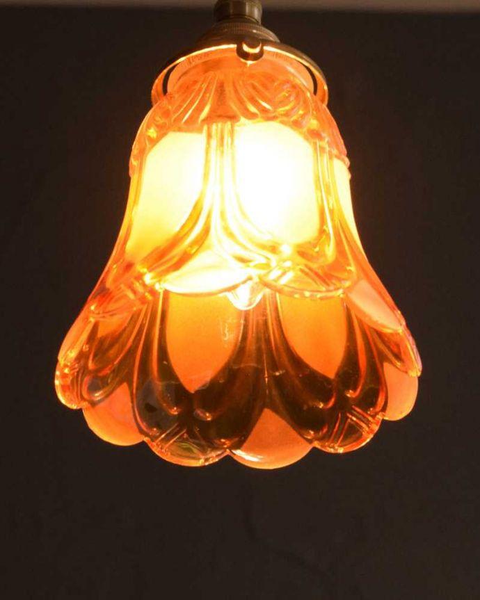 ペンダントライト 照明・ライティング フロストガラスの美しい模様のペンダントライト(コード・シャンデリア電球・ギャラリーA。。(pl-227)