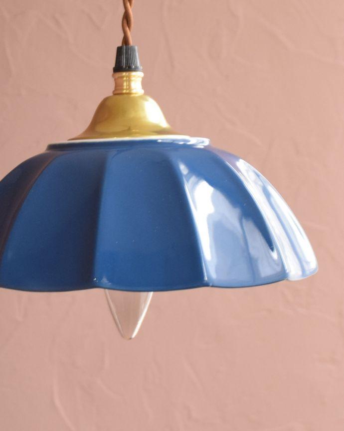 ペンダントライト 照明・ライティング ぬくもりが感じられる陶器のペンダントライト(アンブレラ・ブルー)(ギャラリー付きコード・シャンデリア電球)。。(pl-266)