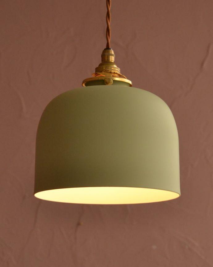 照明・ライティング アイアンシェード・フェズ・モスグリーン ほっこりとした灯りのペンダントライト照明器具の中で気軽に使いやすいペンダントライト。(pl-301)