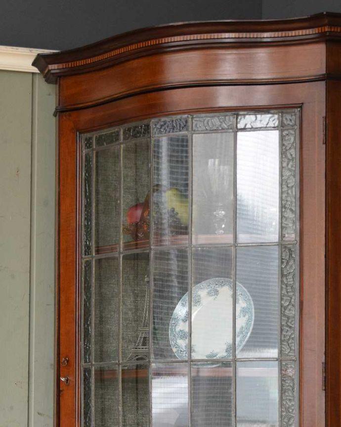 q-1049-f アンティークキャビネットのガラス扉