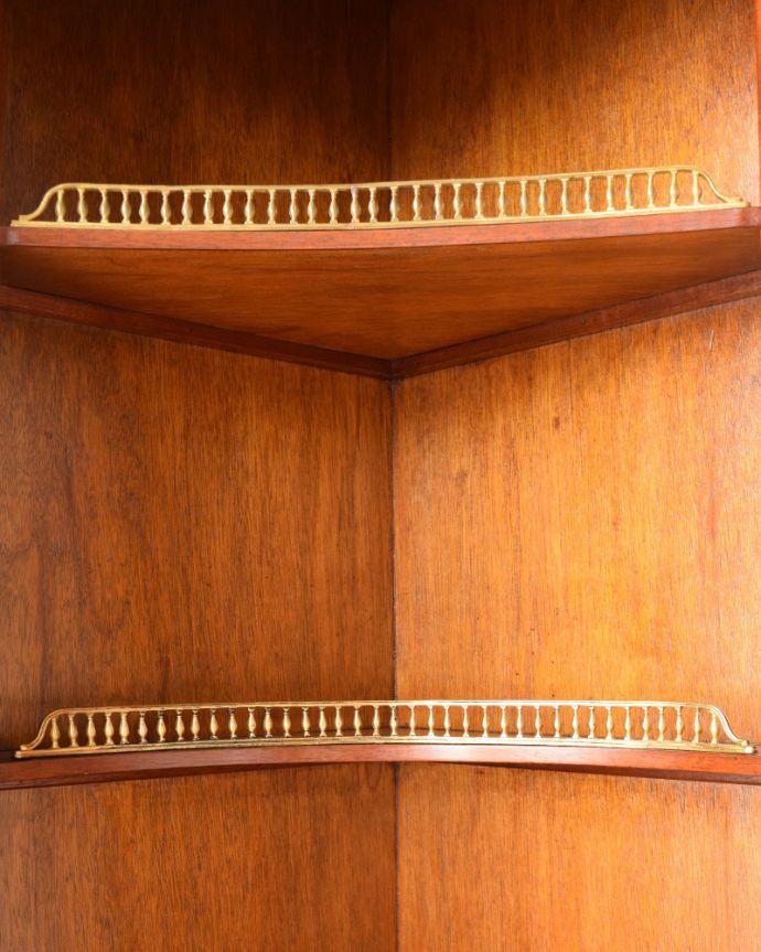q-1127-f アンティークコーナーカップボードの棚装飾