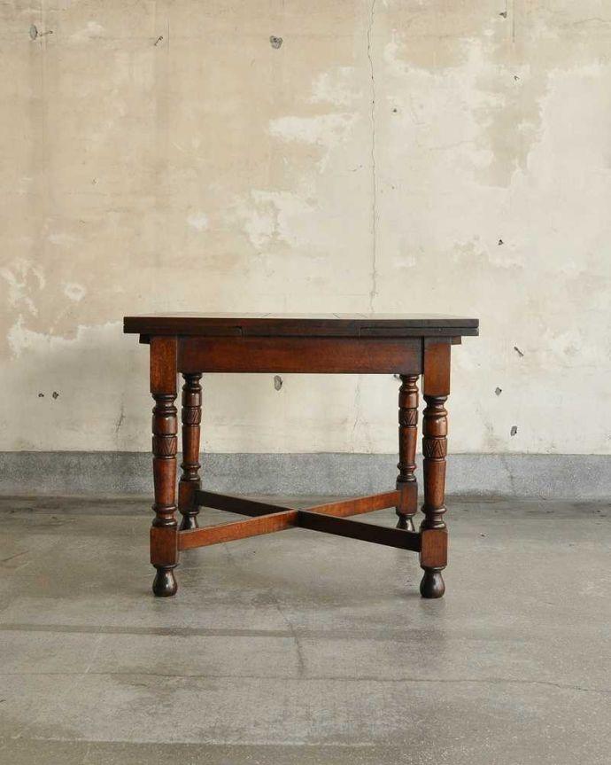 q-1166-f アンティークドローリーフテーブルの横-(長い方・閉じたとき)