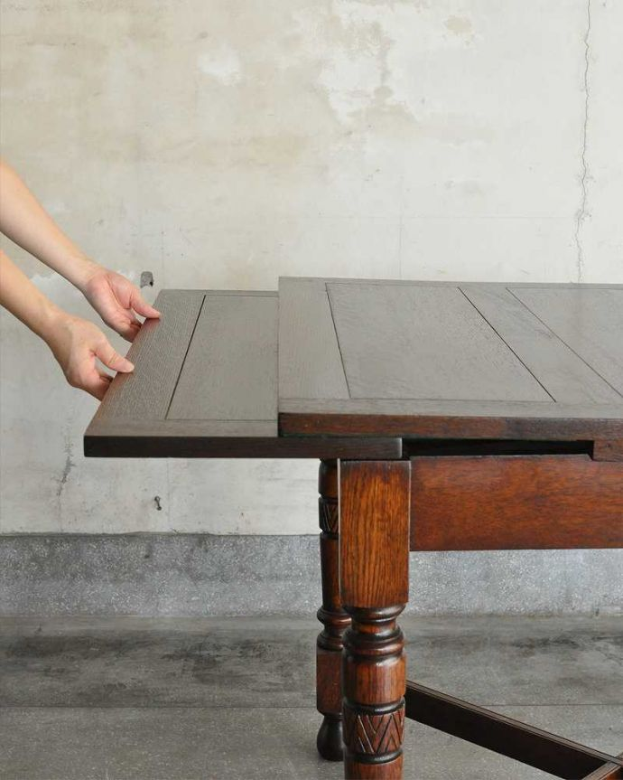 q-1166-f アンティークドローリーフテーブルの開き方