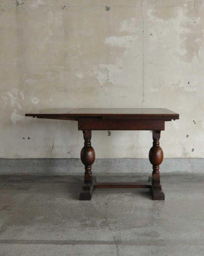 q-1249-f アンティークドローリーフテーブルの横(片方開いて)