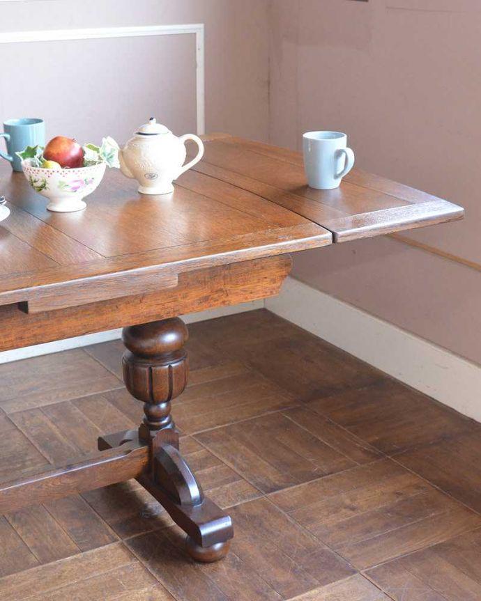 q-1250-f アンティークドローリーフテーブルのアップ