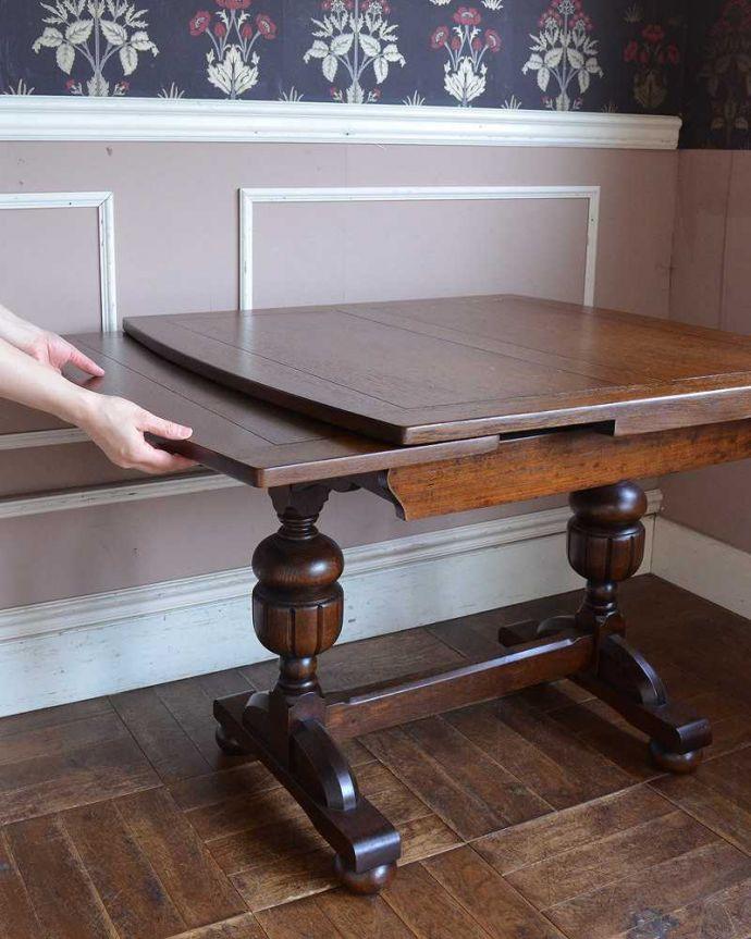 q-1250-f アンティークドローリーフテーブルの開き方