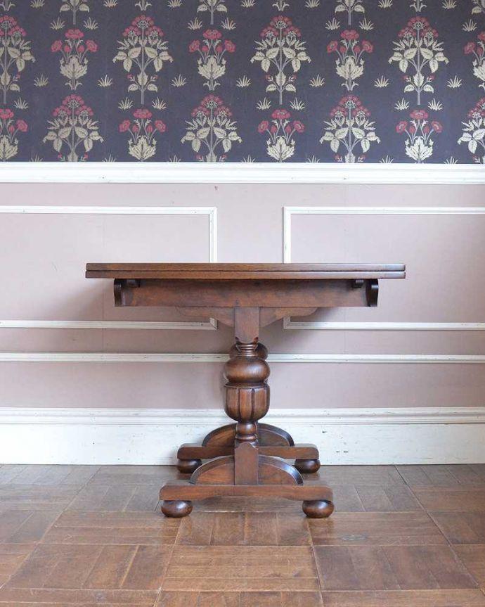 q-1250-f アンティークドローリーフテーブルの後ろ(短い方)