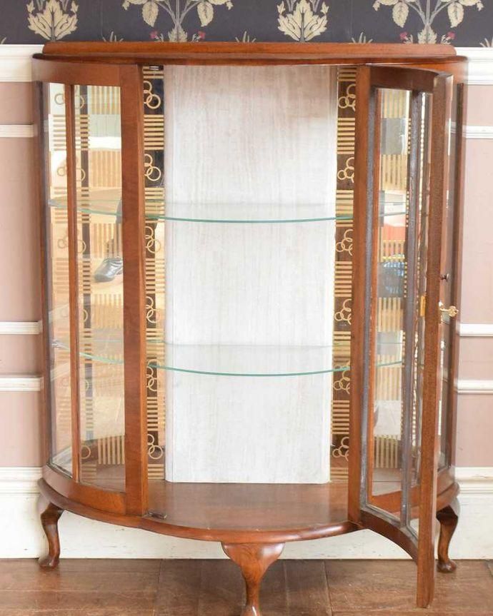 q-1429-f アンティークガラスキャビネットの扉内部