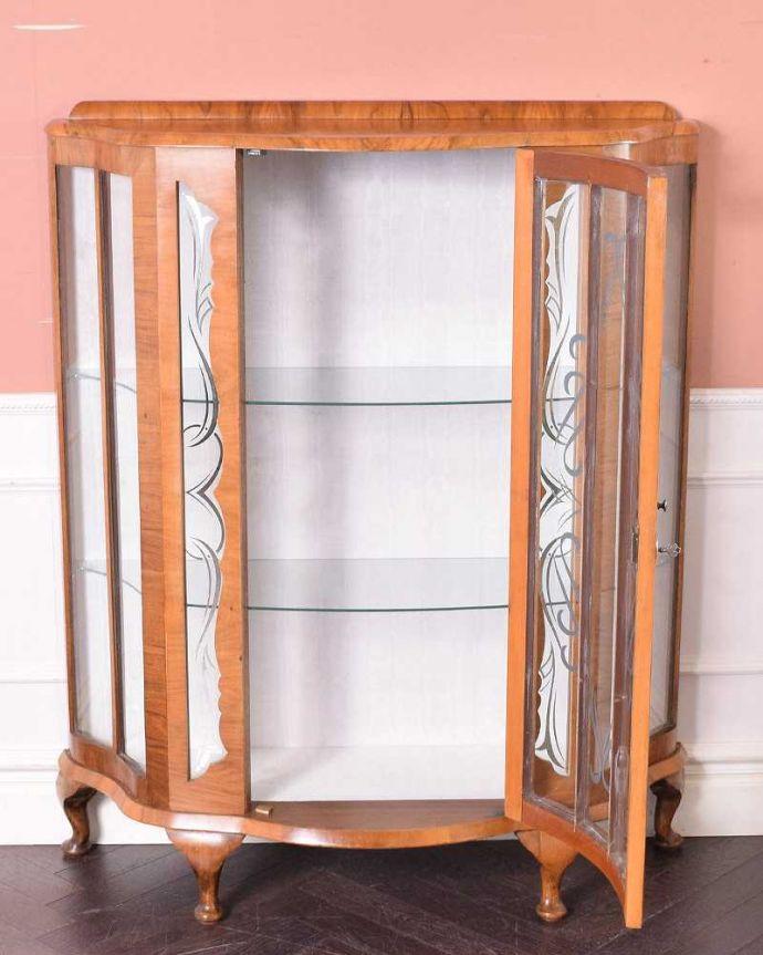 q-1443-f アンティークガラスキャビネットの扉内部