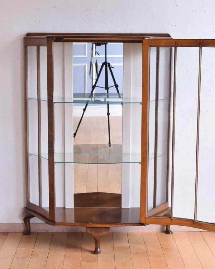 q-1480-f アンティークガラスキャビネットの扉内部