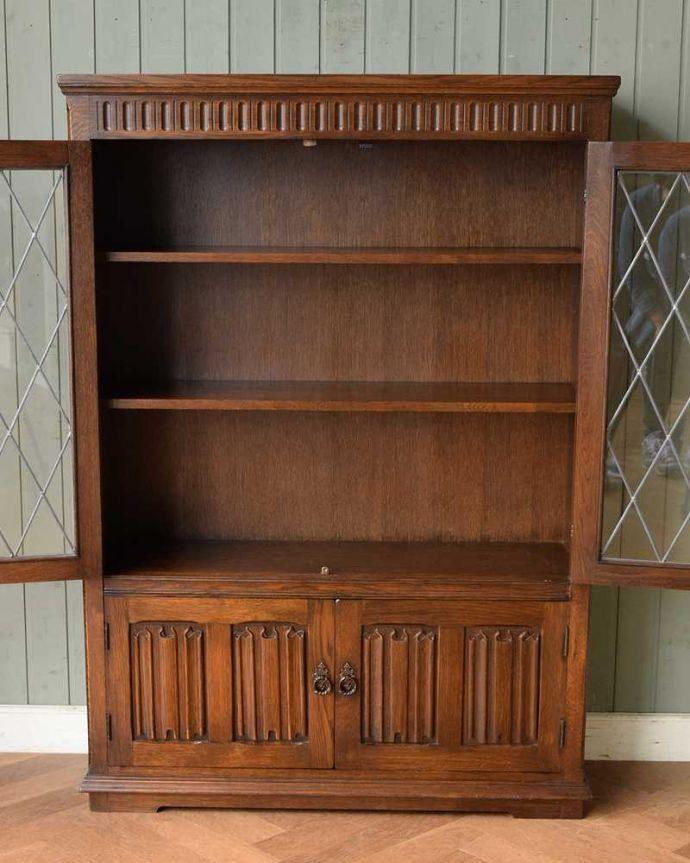 q-1501-f アンティークブックケースの扉内部