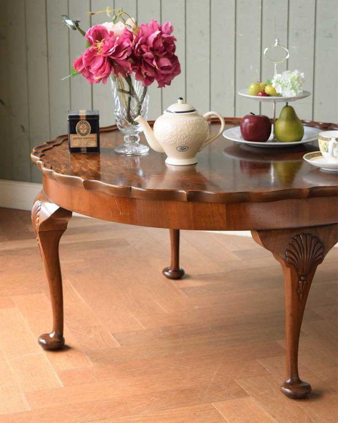 q-1519-f 英国アンティークコーヒーテーブルのズーム