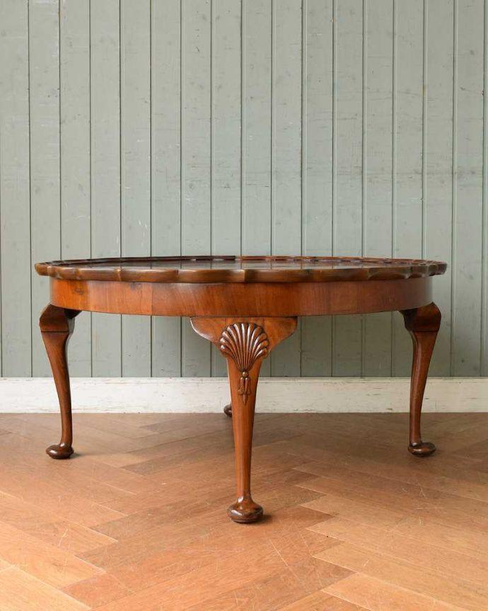 q-1519-f 英国アンティークコーヒーテーブルの後ろ