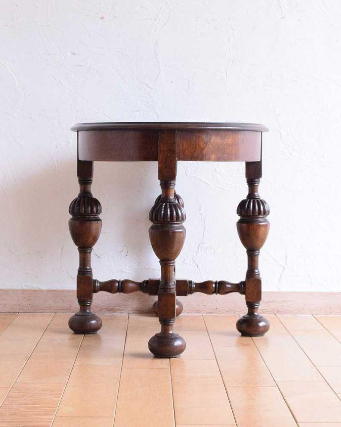 q-1560-f 英国アンティークコーヒーテーブルの後ろ
