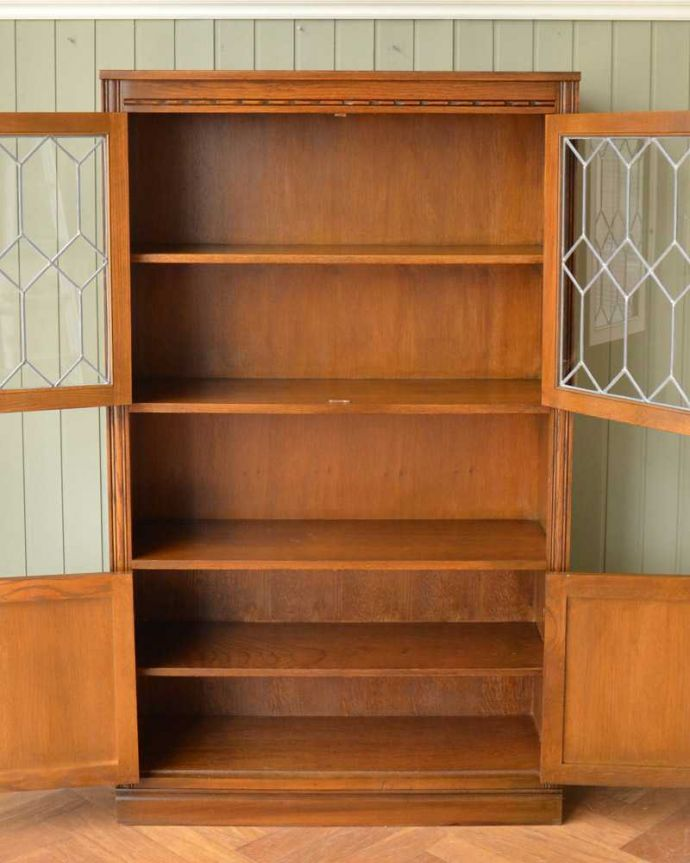 q-1593-f アンティークブックケースの扉内部