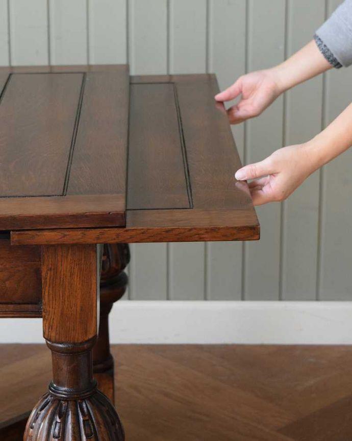 q-1608-f アンティークドローリーフテーブルの開き方