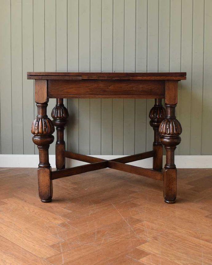 q-1608-f アンティークドローリーフテーブルの横-(天板とじて)